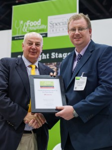 James Kearney, General Manager, CBL Equipment is presented with the Food & Hospitality Ireland Product of the Show Award by Chairman of Insomnia Coffee Company and entrepreneur, Bobby Kerr